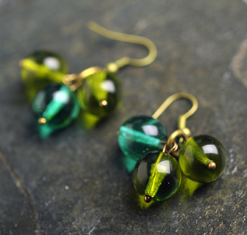 Náušnice zelené - E0557G