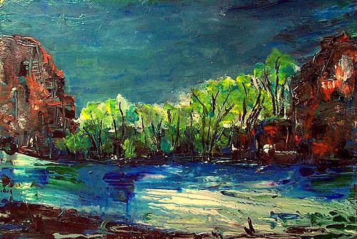 Akrylová krajina-noční