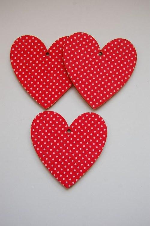 Výřez s látkou: Srdce 6 cm