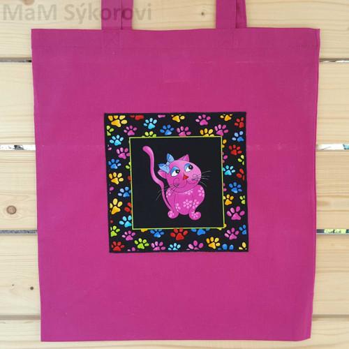 Bavlněná taška s aplikací barevná kočička