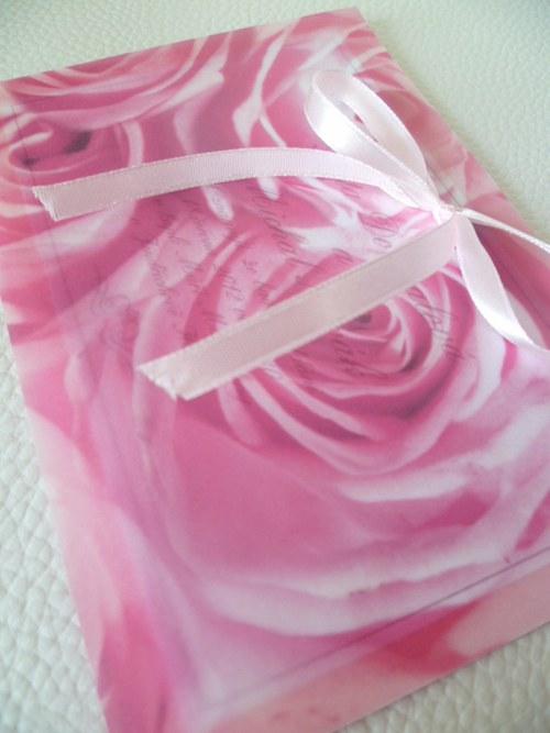 Růže svatební oznámení,pergamenový papír růžové