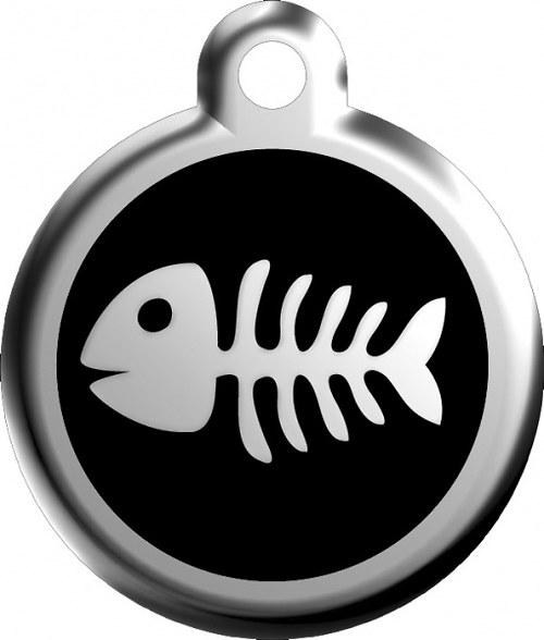 Kočičí známka černá rybí kost 20mm