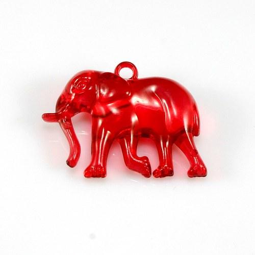 Červený slon - plastový přívěsek, 32x26 mm