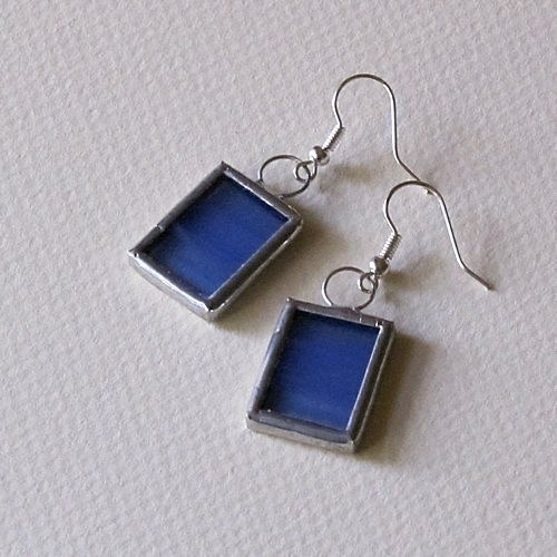 Náušnice - Modré polopriehladné obdĺžniky