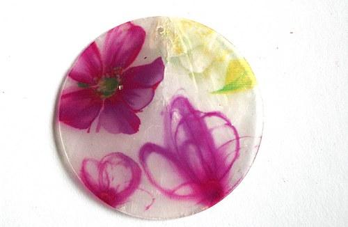 149 perleťové placky tenké - květy růžové