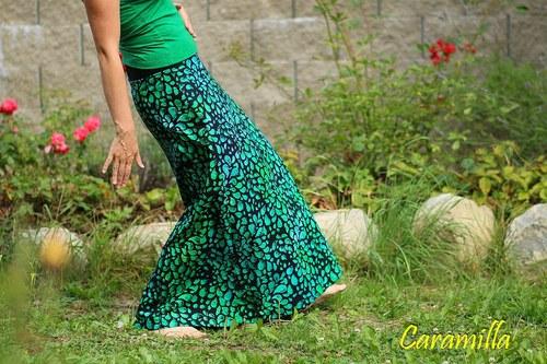 Dlouhá sukně BATIK slzy smaragdu (i těhu)