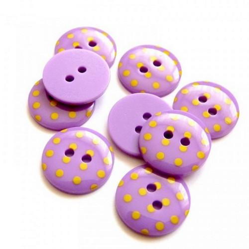 Plastové knoflíky 15mm, fialové s puntíky