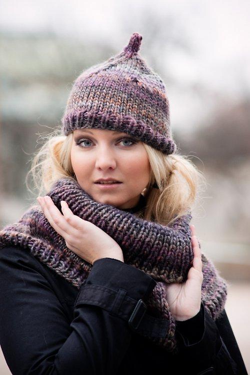 Popis - návod na pletenou čepici a nákrčník Misty