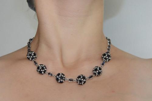 Černo-stříbrné korále - chirurgická ocel