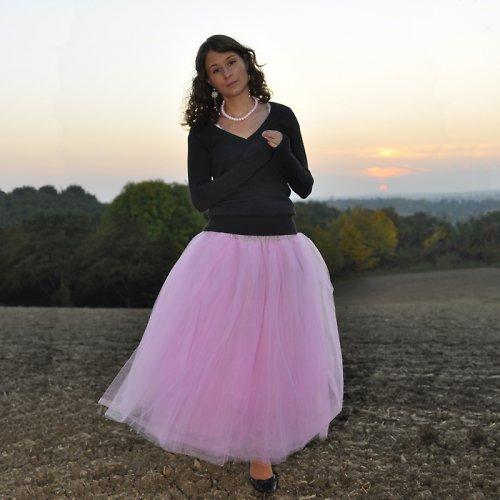 Růžová tylová sukně