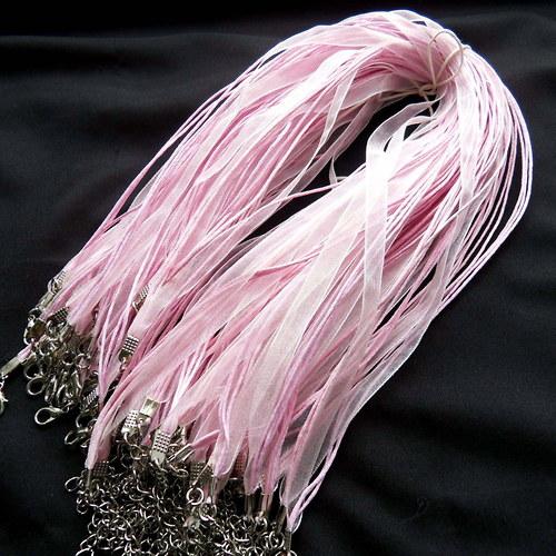 Organza stuha se 3 šňůrkami růžová - 5 ks