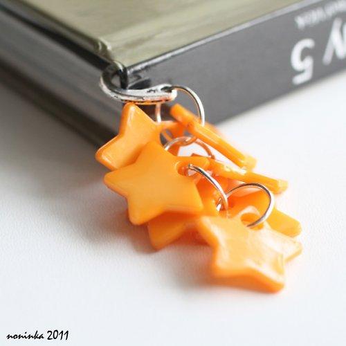 oranžová hvězda  - záložka do knihy - VÝPRODEJ