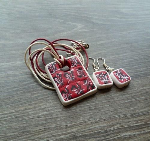 Bílo-červeno-černý náhrdelník + náušnice