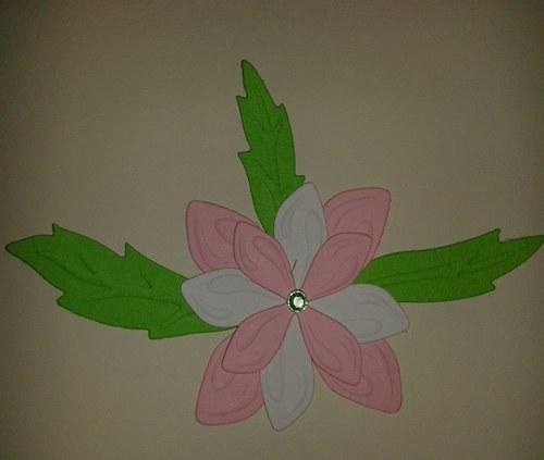 Skladaná kytička - růžovobílá