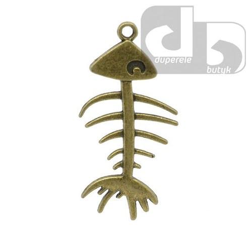 Bronzový přívěšek - rybí kostra 42 x 21mm 1 ks