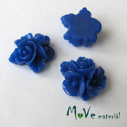 Kabošon květy lesklý A8 - resin - 2ks, modrý