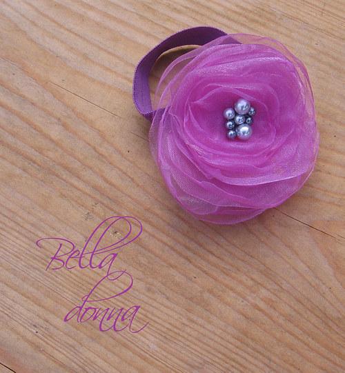 Fialková květina - náramek/ozdoba
