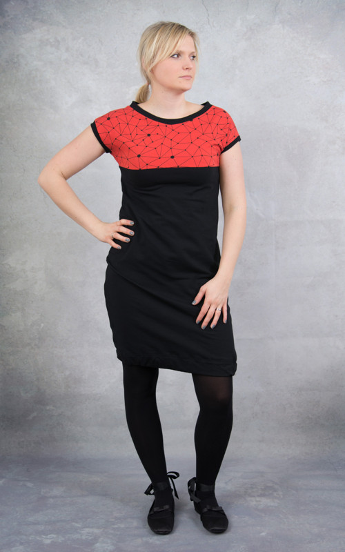 Šaty červené geometry