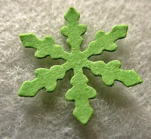 Papírový výsek - HVĚZDIČKA - zelená -  30 ks