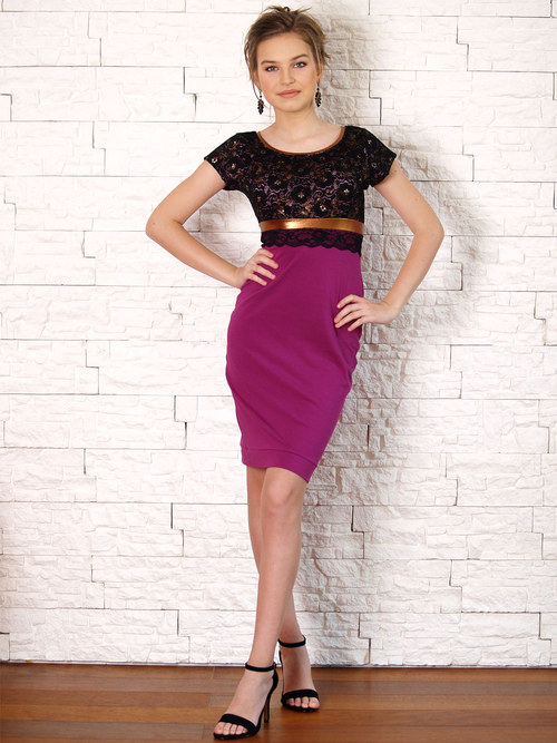 Šaty s krajkovým živůtkem černo- fialové