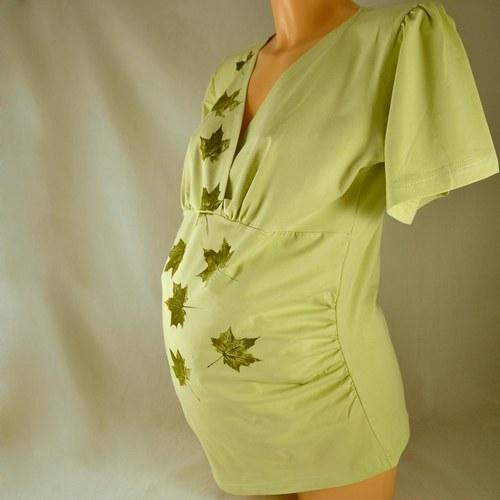 Těhotenská tunika - sv. zelená s listy L/XL