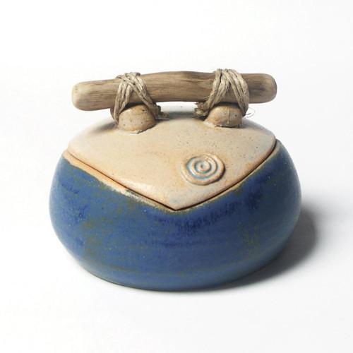 Malá modrá se spirálkou - keramická dóza