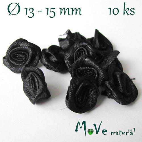 Růžička saténová 13-15mm, 10kusů, černá