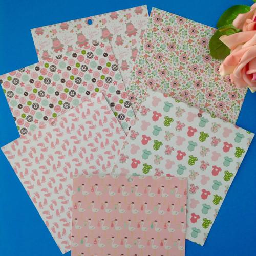 Oboustranný papír Sweet Baby 6 ks ,15 x 15 cm