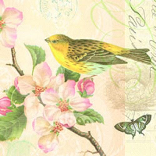 "ubrousek, motiv \""Ptáček a květy\"""