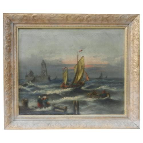Rozbouřené moře s majákem a plachetnicemi.