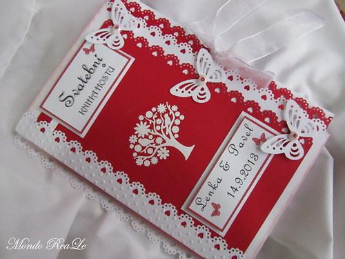 Svatební kniha hostů- butterfly červená