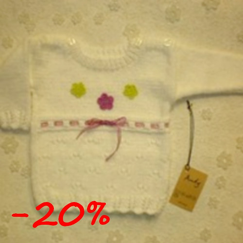 dětský pletený svetřík - bílý s mašlí