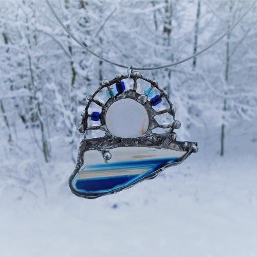 Zimní zapadání - achát a sklo