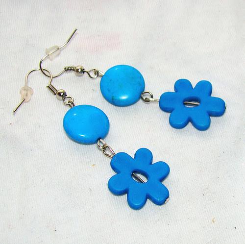 náušnice lentilky s kytičkami modré