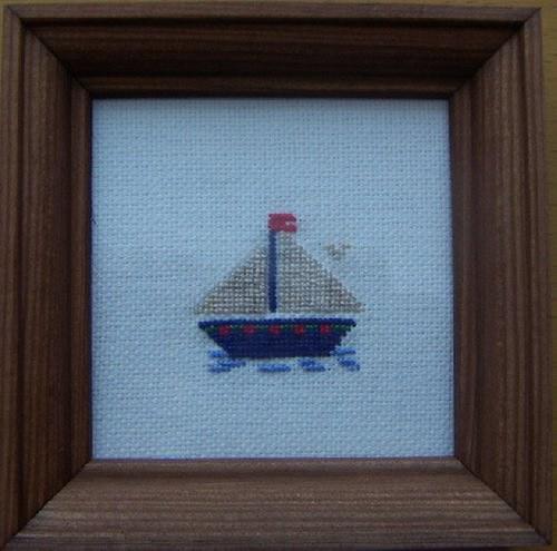 Vyšívaný obrázek - loďka