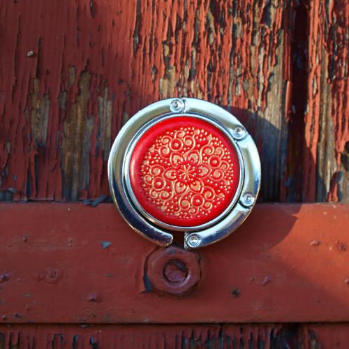 Háček na kabelku - Červenozlatý