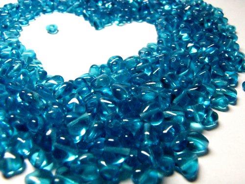 Srdíčka, korálky 6 mm, modré, 80 ks