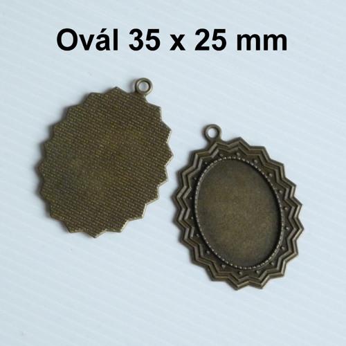 Masivní lůžko ovál s očkem (25x35mm) mosazné