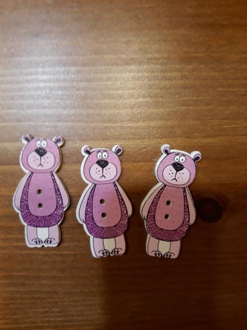 Dřevěný knoflik medvídek růžový