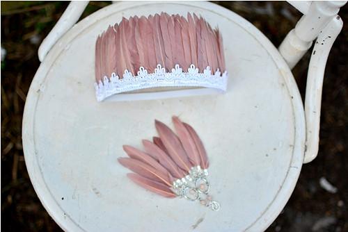 Staro růžový set - čelenka a náušnice