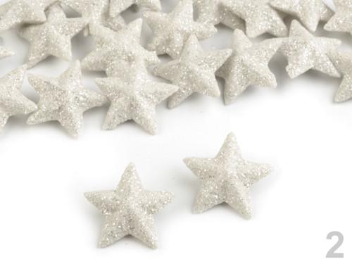 Hvězdy s glitry Ø20 mm - béžovobílá (25ks)