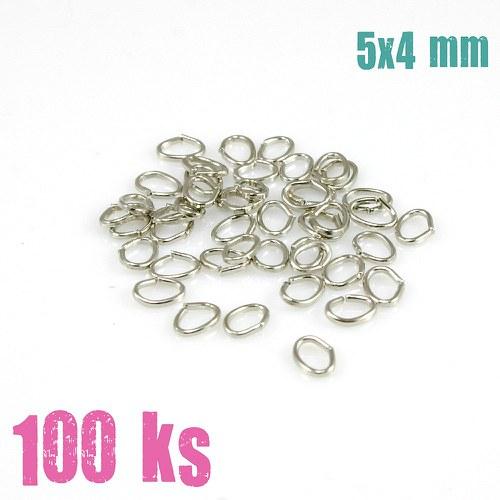 Stříbrné oválky 5x4 mm (100 ks)