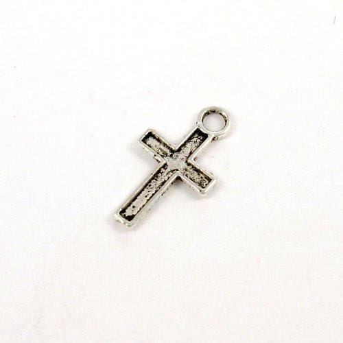 Přívěsek - plochý malý křížek,  4 kusy,