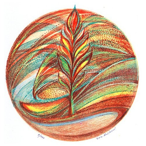 Originál litografie - Duhová kulička