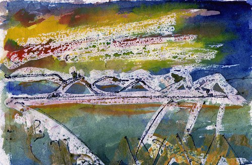 Stmívání -Středohoří ze střechy maštale