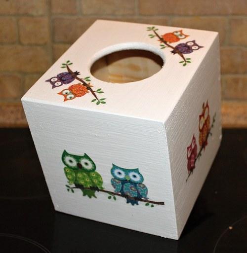 Sova k sově sedá - krabička na kapesníky model 4