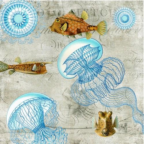 Panel látky Pod mořem 45x45 cm
