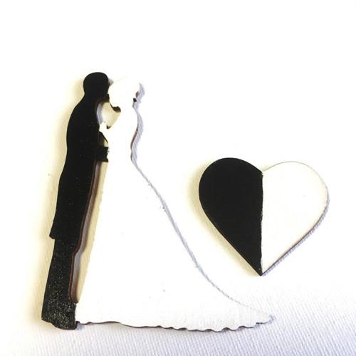 Dřevěné magnety -Ženich s nevěstou