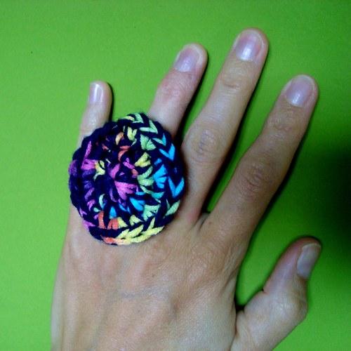 Háčkovaný prsten - modrý