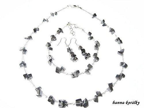 Souprava hematit - náhrdelník, náramek a naušnice
